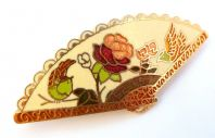 Vintage Cream Cloisonne Enamel Fan Brooch.